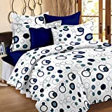 #10: Story@Home Magic 152TC Cotton Double Bedsheet with 2 Pillow Covers - Blue Cotton Bedsheets For Double Bed