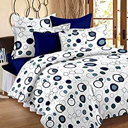 Story@Home Magic 152TC Cotton Double Bedsheet with 2 Pillow Covers - Blue Cotton Bedsheets For Double Bed