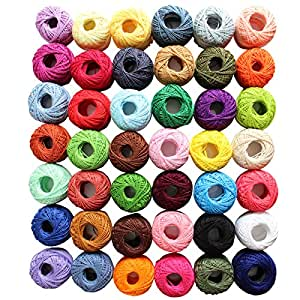 42 Piece Colourful Cotton Crochet Thread Set by Curtzy - 47.5 Yards Crafts Knitting Yarn Lace Flowers Skein Skeins Balls - 1995 Yards Total - Perfect for Beginners & Experienced Crochet Enthusiasts