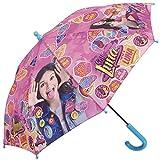 Perletti Regenschirm Soy Luna Disney - Schirm für Mädchen Rosa, Robust, windfest - Sicher Kinderregenschirm mit abgerundeten, blockierten Spitzen - Manuelle Sicherheitsöffnung