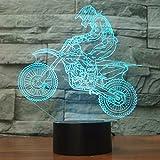 Ahat 3D Optical Illusion MTB Motocross Bike Pannello di modello di illuminazione notturna 7 cambiamento di colore pulsante tattile USB scrittorio LED lampada da tavolo luce