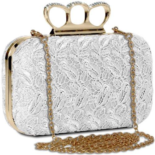 CASPAR Damen Schlagring Box Clutch / Abendtasche mit Stoff Häkel Spitze Dekor und Strass Steinen - viele Farben weiss