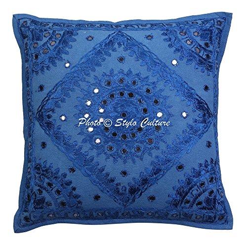 Indische Spiegel bestickt Baumwolle Throw Kissenbezug blau 40 x 40 traditionelle Kissenbezug