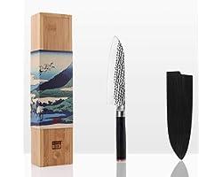 KOTAI - Santoku Couteau de Chef (Couteau de Cuisine Professionnel) - Lame de 18 cm - Aiguisé à la Main - Acier Inoxydable Jap