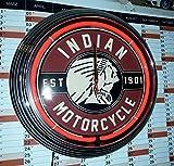 NEON CLOCK NEONUHR INDIAN MOTORCYCLE EST. 1901 WERKSTATT WANDUHR BELEUCHTET MIT ROTEN NEON RING! ERHÄLTLICH AUCH MIT ANDEREN NEON FARBEN!