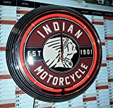 NEON CLOCK NEONUHR INDIAN MOTORCYCLE EST. 1901 WERKSTATT WANDUHR BELEUCHTET MIT ROTEN NEON RING