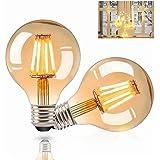 Gohytal Ampoule LED E27 Vintage, 2 PCS Ampoule Edison LED E27 G80 Lampe Décorative Rétro Ampoule Globe Vintage Lampe Antique