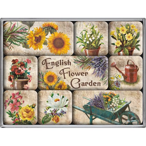 Nostalgic-Art 83042 Home & Country - English Flower Garden, Magnet-Set (9teilig) Country Vintage Home Decor