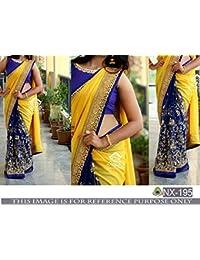 Pramukh Enterprise New Gorgette & Mono Net Yellow & Blue Designer Saree