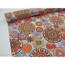 Metraje 0,50 mts tejido loneta estampada Ref. Mandala Naranja, con ancho 2,80 mts.