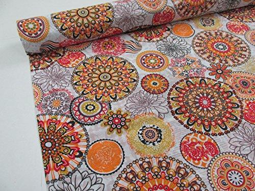 Metraje 2,45 mts tejido loneta estampada Ref. Mandala Naranja, con ancho 2,80 mts.