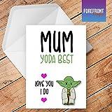 personalisierbar Yoda Best Mum Star Wars inspiriert Grußkarte–Texten für jede Gelegenheit oder Event–Geburtstag/Weihnachten/Hochzeit/Jahrestag/Verlobung/Vatertag/Muttertag