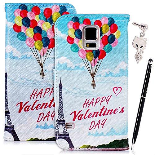 Etui Samsung S7 Edge , Anfire Fleur et Papillon Motif Peint Mode PU Cuir Étui Coque pour Samsung Galaxy S7 Edge G935F (5.5 pouces) Housse de Protection Luxe Style Livre Pochette Étui Folio Rabat Magné Happy Valentine's Day