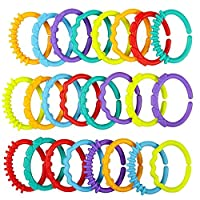 Xiton 24 PCS Durable Plastic Teething Ring Unisex Baby Sensory Teether Colorful Infant Teether Soothing Gums Teething Bracelet Random Color