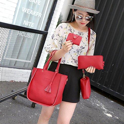 Hunpta Frauen vier Satz Handtaschen Schulter Beutel Vier Stück Einkaufstasche Crossbody Mappe Rot
