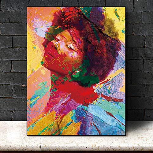 RTCKF Poster Ritratto Ragazza di Fiori Rosa Tela nordica Pittura murale Poster e Stampa Quadri Astratti Decorazione Soggiorno (Senza Cornice) A2 60x80CM