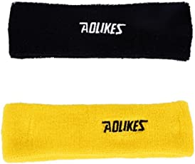 AGE CARE high Quality Cotton Sweat Band - Outdoor Sport Headband (Yellow and Black).
