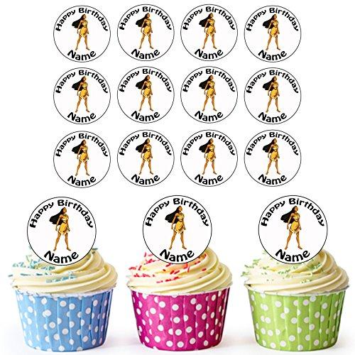 Vorgeschnittene Personalisierte Pocahontas Disney Prinzessin - Essbare Cupcake Topper / Kuchendekorationen (24 Stück)