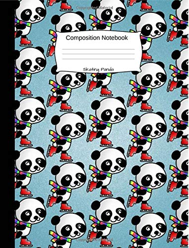 Skating Panda Composition Notebook: Cute Cartoon Animal Graph Paper Book for Girls, Boys and Teens, for Students and Teachers, for School and Work, Journaling and Writing Notes por Joy Happy