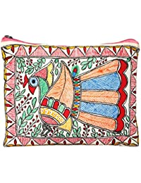 IMithila Mithila Folk Art Casual, Ethnic And Jeanswear Madhubani Handpainted Cotton Pouch With Beautiful Dancing...
