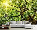 Yosot Benutzerdefinierte Tapete Sonnenschein Bäume Üppige StraßeLandschaft Tv Hintergrund Wand Wohnzimmer Schlafzimmer Wandbild 3D Fototapete-350cmx245cm