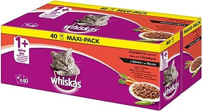 Whiskas Katzen-/Nassfutter Multipack Adult 1+ für Erwachsene Katzen Klassische Auswahl in Sauce, 40 Portionsbeutel (40 x 100 g)