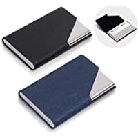 homEdge Lot de 2 porte-cartes de visite fins professionnels en cuir synthétique + étui en acier inoxydable pour les…