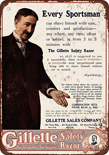 1908Gillette Sicherheit Rasierer Vintage Look Reproduktion Metall blechschild 20,3x - Gillette-vintage
