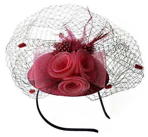 Fascinator Frauen-Pillbox-Hut Britischer Bowler-Hut-Blumen-Schleier-Hochzeits-Hut-Tee-Party-Hut - Bowler Hut Frauen Kostüm