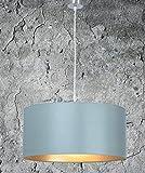 Hochwertige Hängelampe | Hängeleuchte aus Chintz Stoff | Grau Gold | XXL | Pendelleuchte | Lampe | Wohnzimmer | Esszimmer | Schlafzimmer | Küche | Ø 55cm | Schirm Rund | Modern | LED geeignet | dimmbar | 2x E27 Fassung