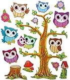 15 tlg. Set: 3-D ! Wandtattoo / XL Sticker aus Pappe - Eulen auf Baum und Äste - selbstklebend Aufkleber / Wandsticker Eule Ast Blumen auch als Fenstersticker - Wandaufkleber - für Kinder Kinderzimmer Mädchen Jungen