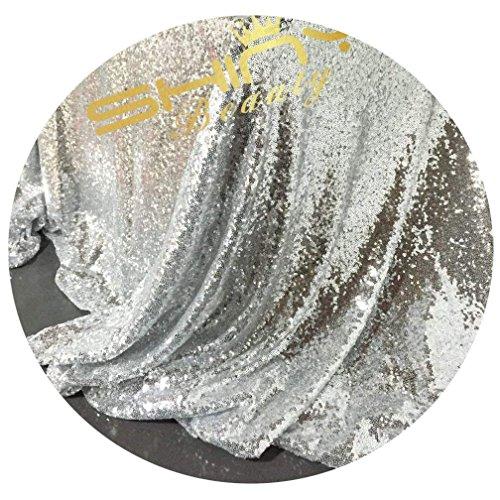 ShinyBeauty Silber Pailletten-Stoff Durch Das Messgerät Pailletten Silber 2 m 2 Wege Glitter elastischen Material Netzgewebe für Nähen Stoff Xmas Tree Dekorationen/Pailletten Tischdecke DIY (Silber) -