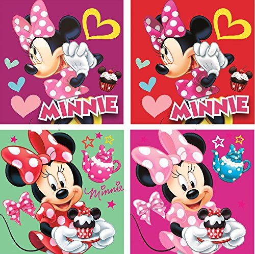 Disney Minnie Mouse Lot de 4 gants de toilette à laver anti-taches 69896