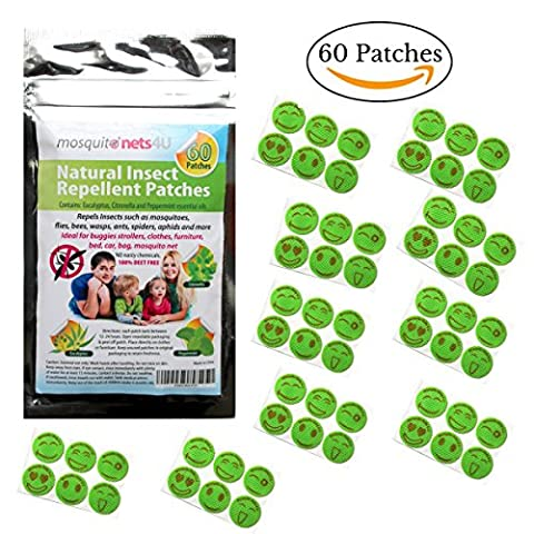 Patchs Anti-Moustiques - 60 Adhésifs Insecticides - Huiles Essentielles de Menthe, Eucalyptus et Citronnelle 100 % Sans Deet - Insectifuge Naturel pour les Enfants et les Adultes
