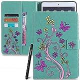 Slynmax Schmetterling Grün Tasche Flip Case Schutzhülle für iPad Mini 2/iPad Mini 3/iPad Mini Tablet PCs Hülle Wallet Case Blume Slim Brieftasche Lederhülle Ledertasche Handyhülle Klapphülle