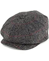 City Sport Harris Tweed Herringbone Newsboy Cap - Grey-Black