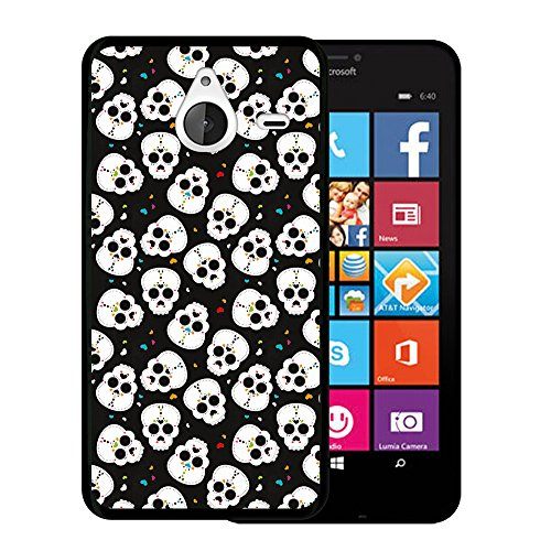 Funda Microsoft Lumia 640 XL, WoowCase [ Microsoft Lumia 640 XL ] Funda Silicona Gel Flexible Calavera Corazones, Carcasa Case TPU Silicona - Negro
