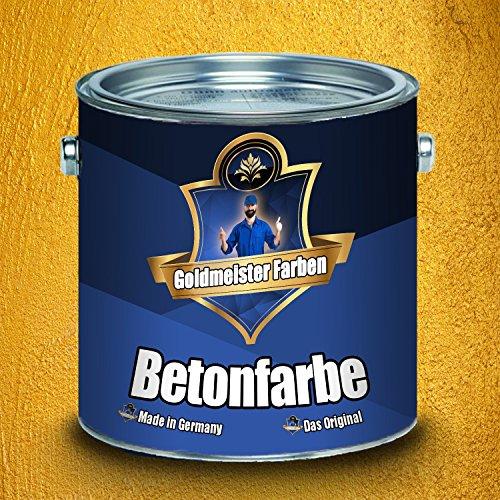 Goldmeister Farben Betonfarbe Fassadenfarbe hochelastische Kunststoffbeschichtung Abrieb-, Wetter- und Chemikalienbeständig für Stein, Zement, Putz, Beton und Mauerwerk (5 L, Rapsgelb (RAL 1021))