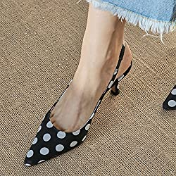 VIVIOO Zapatos de tacón alto Sandalias de tacón alto Lunares de primavera y verano en el aire Retro Blanco y negro Wave Point Tacones bajos Zapatos de mujer Sandalswave Point 7Cm,34