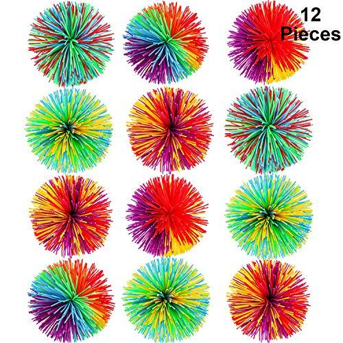 ngy Balls Sensorisch Fidget Stringy Balls Weiche Regenbogen Pom Bouncy Stress Balls mit Aufbewahrungstasche, Mehrfarbig (2,75 Zoll 12 Stücke) ()