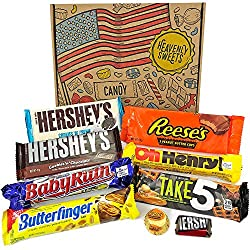 Mini American Chocolate Candy Hamper Box | Assortment Includes Reeses, Hersheys, Butterfinger, Baby Ruth Bar | American Sweets Taster Selection in a Retro Gift Box