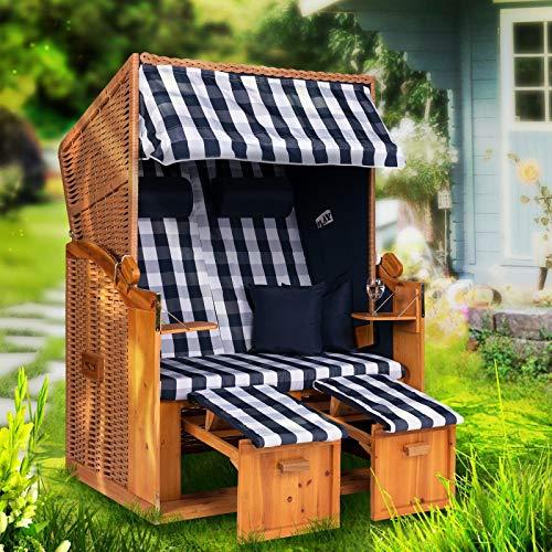 Möbelcreative Strandkorb Ostsee XXL Volllieger 2 Sitzer - 120 cm breit - blau weiß kariert inklusive Schutzhülle, ideal für Garten und Terrasse
