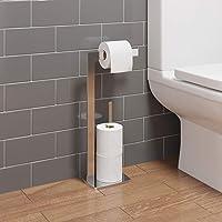 Architeckt Bathroom WC Square Floor Standing Chrome Toilet Roll Holder Modern Storage Tidy