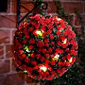 28cm Red Rose Solar Powered Topiary Ball with 20 LED Lights - Dual Function