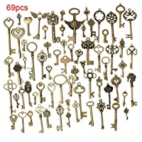 xiegons0 69 pcs Vintage Skeleton Charm Key Set Necklace Bracelets Pendants Jewelry DIY Making Supplies Wedding Favors