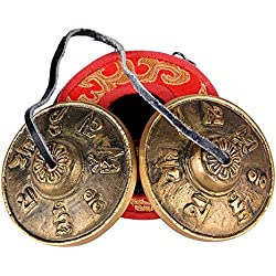 6,5cm Campana Tibetana Tingsha Meditación Yoga Campana de Platillo de Bell con Símbolos de Suerte + Caja de transporte