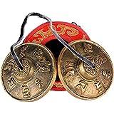 (Dia: 6.5cm) Tingsha Cymbales Tibétaines en Laiton Cloche Tibéraine Petite Tingsha Bells avec une Boîte pour Bouddiste Yoga Méditation