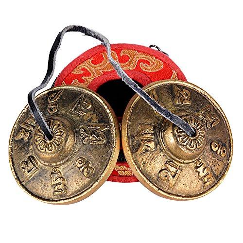 (Durchmesser: 6,5cm) Zimbeln + Schutzhülle (rot) Tibetische Meditation Glocke Tingsha mit gravierten Symbolen für selbst Heilung Yoga und Meditation Gebet religiöse Geschenk (Der Heilung Symbol)