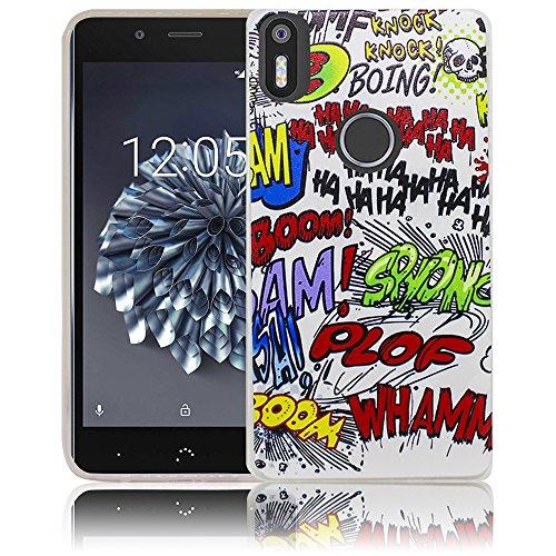 bq Aquaris X5 Plus Passend Comic Haha Handy-Hülle Silikon - staubdicht, stoßfest und leicht - Smartphone-Case