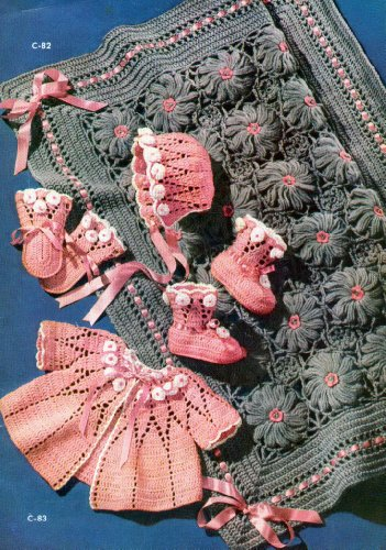 Pretty Baby Set Crochet Pattern Bonnet Sacque Mitts Booties Carriage Cover (English (Mitt Set)